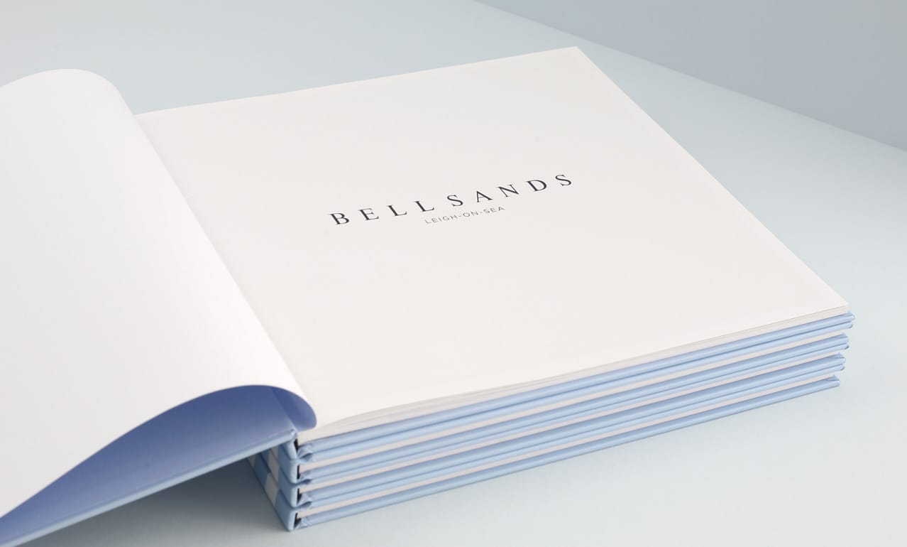 Opening page from brochure design for Bell Sands development, Leigh on Sea