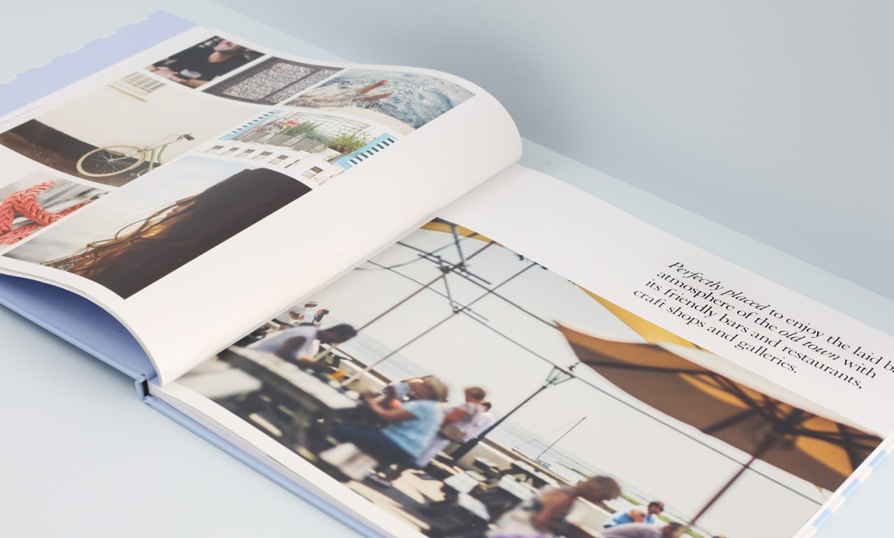 Spread from brochure design for Bell Sands development, Leigh on Sea showing graphic design, photography by Paul Tait and art direction
