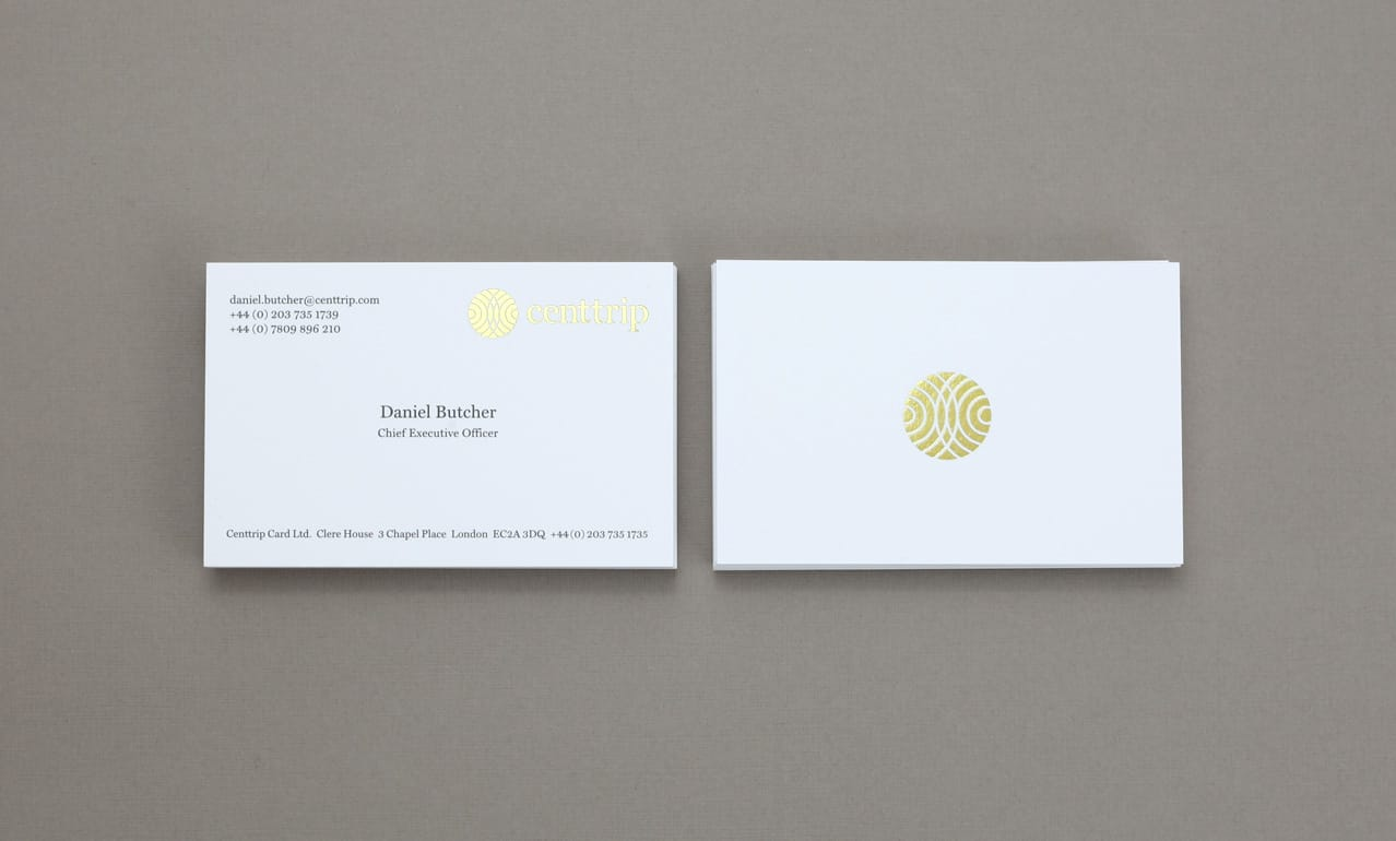 Business card graphic design for Centtrip - Gold foil