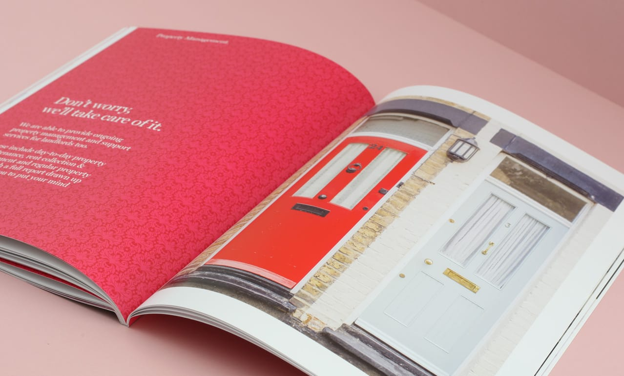 Graphic design for Home Estate Agents, Leigh on Sea showing page layout