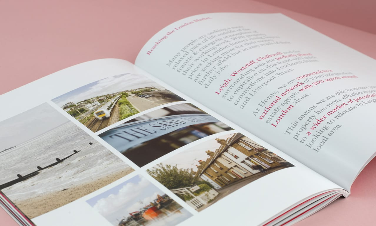 Page layout from brochure design for Home Estate Agents, Leigh on Sea