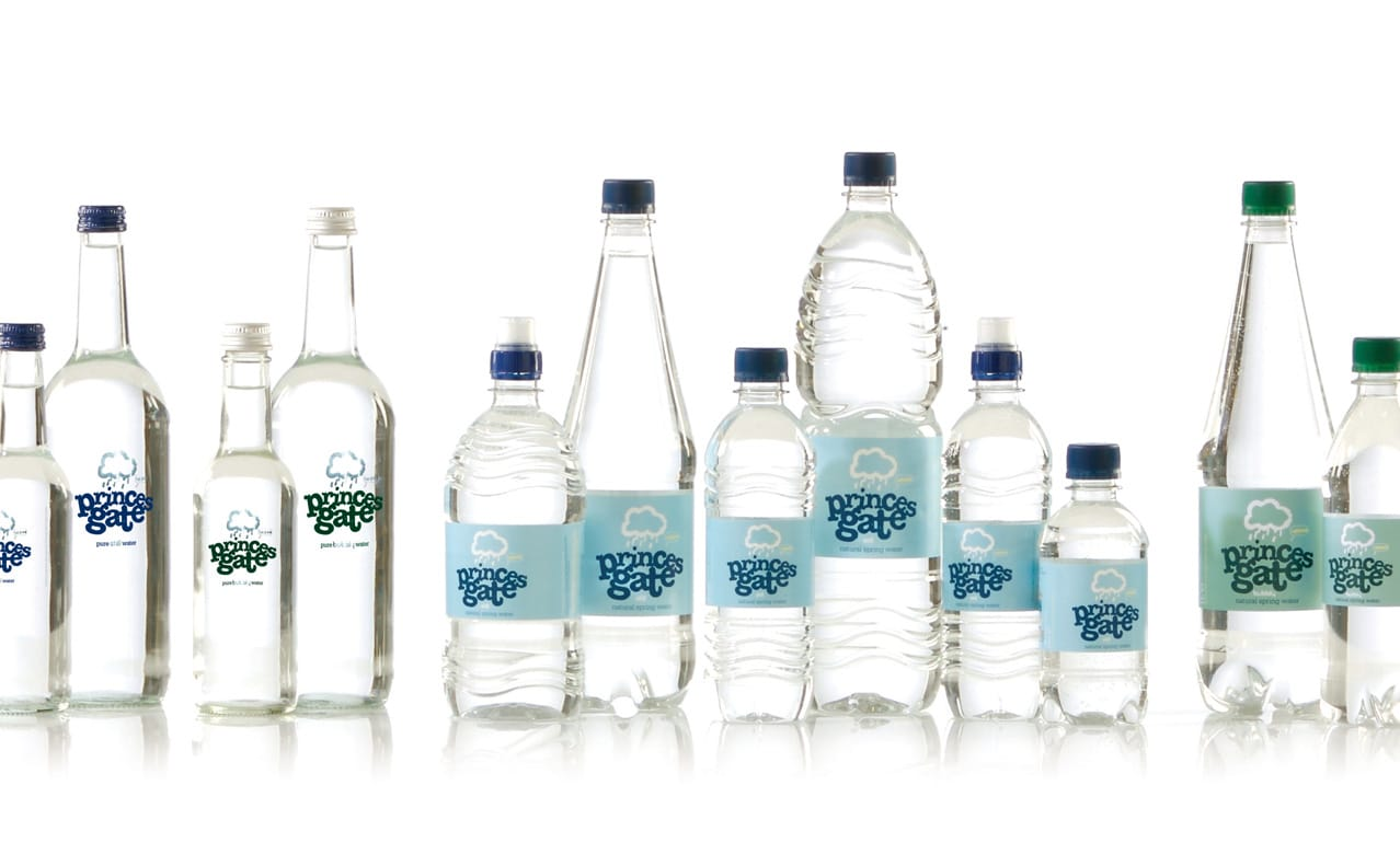 Princes Gate Spring Water brand design and packaging