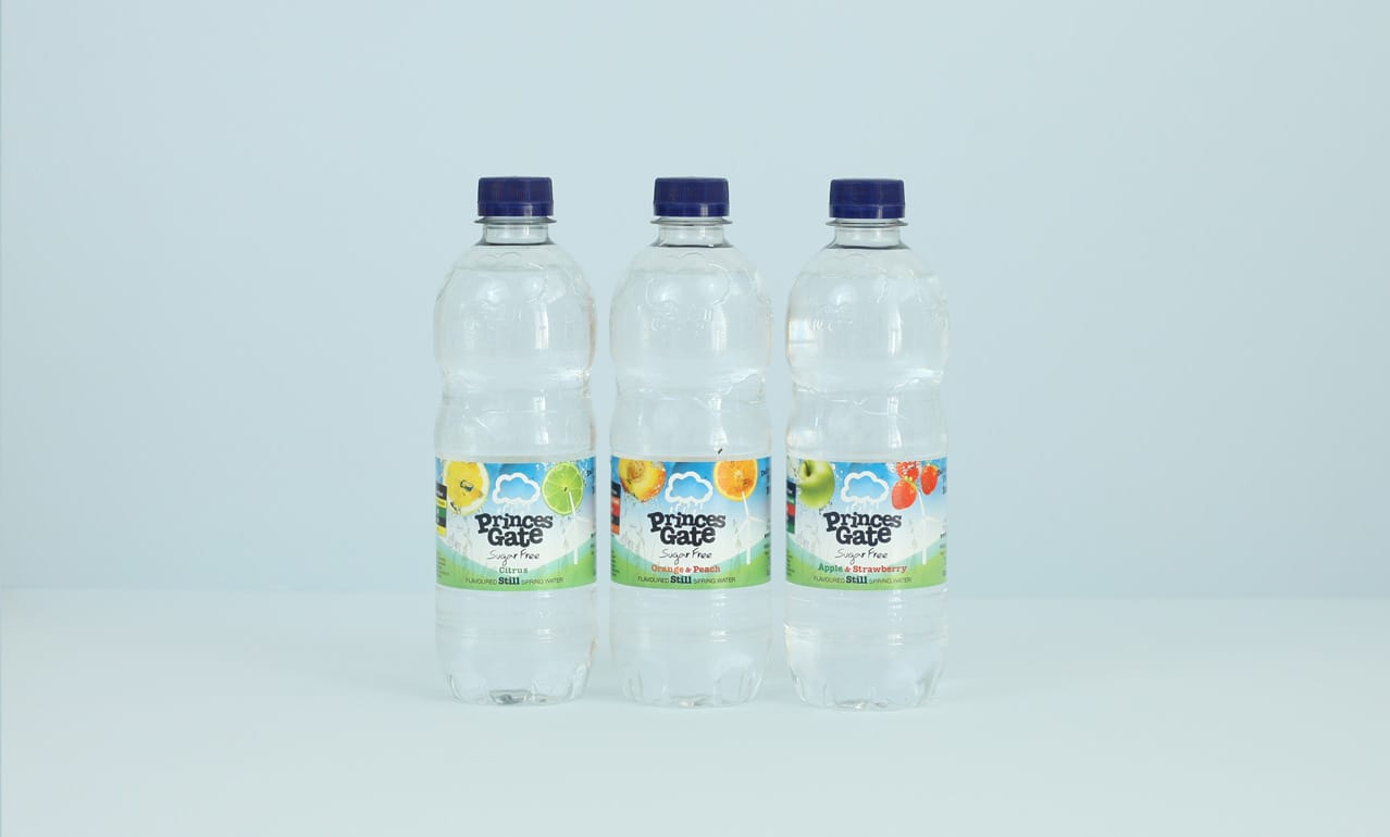 Princes Gate Spring Water label design for bottled water