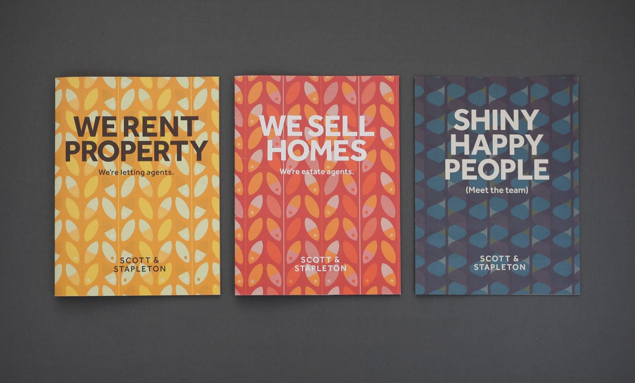 Covers for Scott and Stapleton brochures showing pattern design & copywriting tone of voice