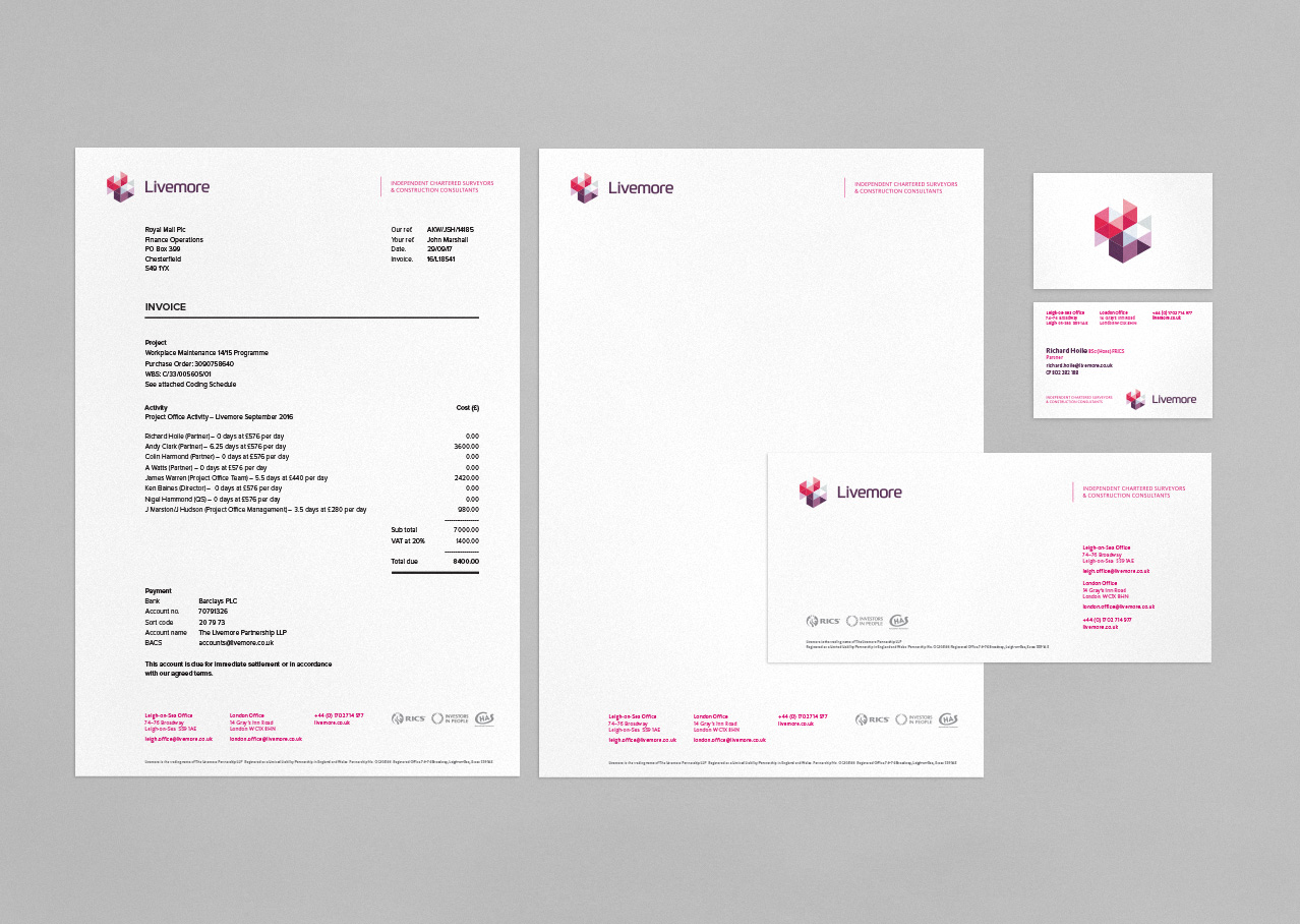 Livemore stationery design