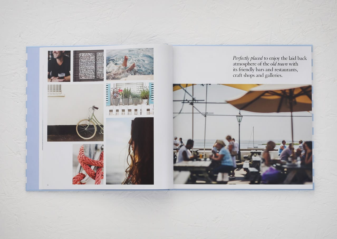 Page spread from brochure design for Bell Sands development, Leigh on Sea showing design, photography and copywriting