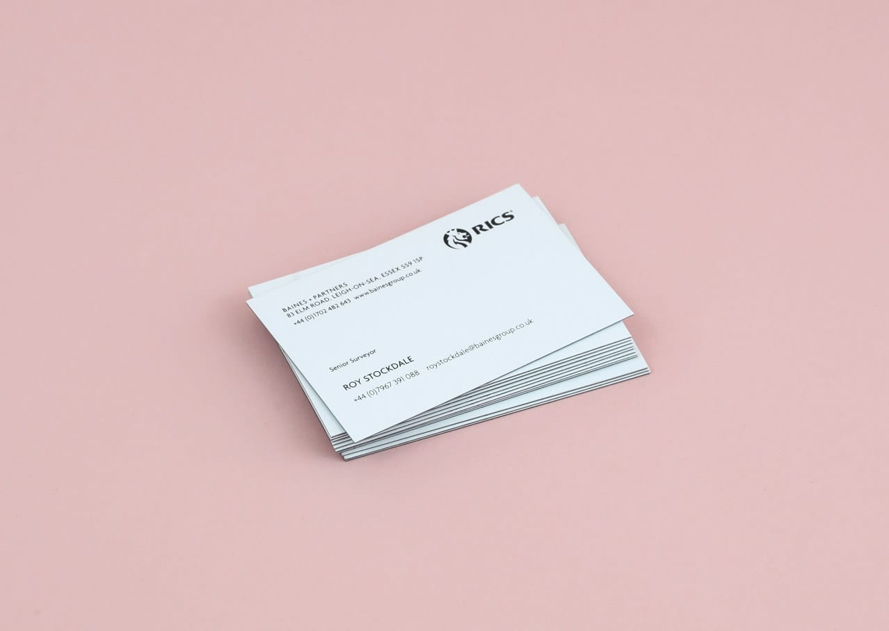 Baines business card graphic design