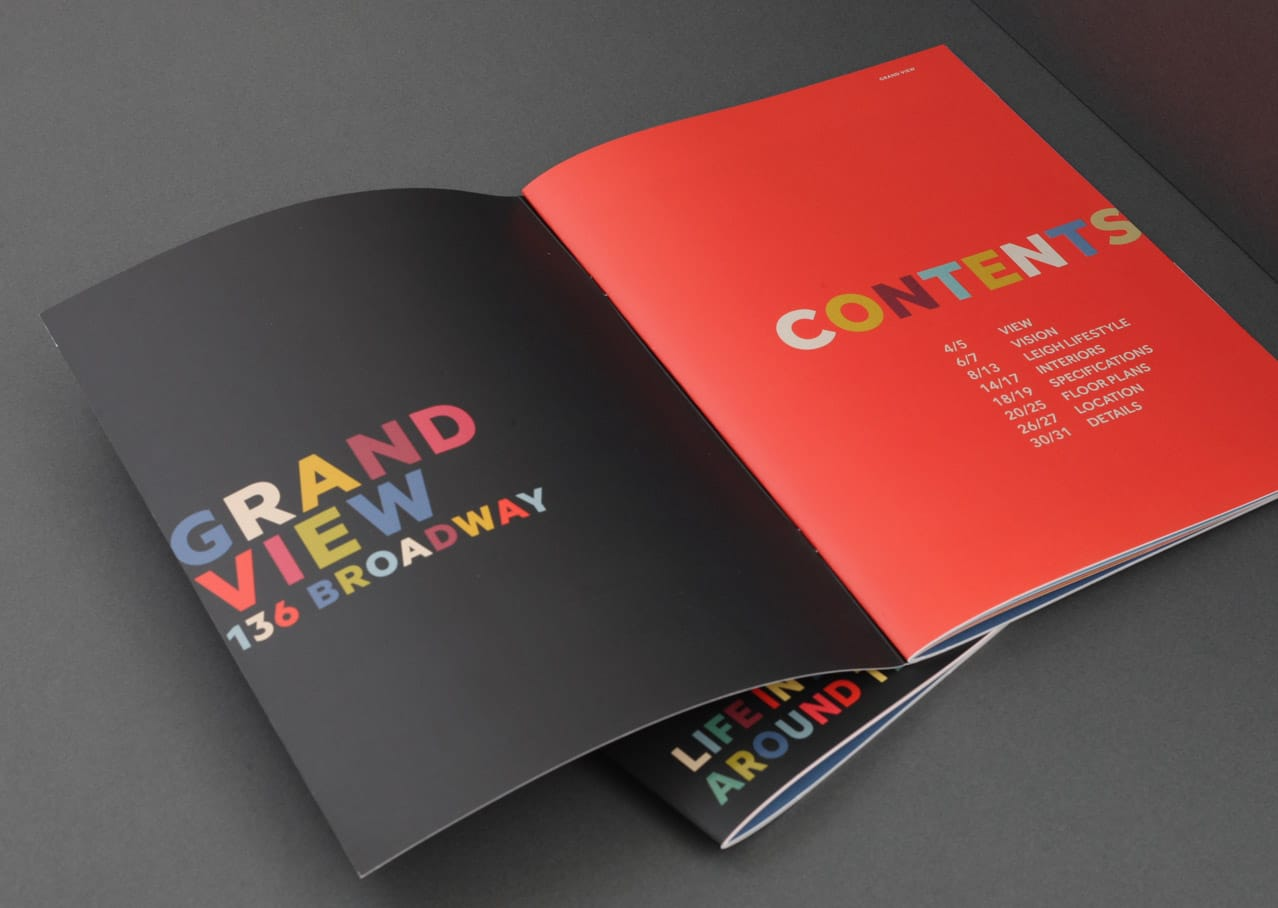 Brochure and branding design for Grand View development, Leigh on Sea