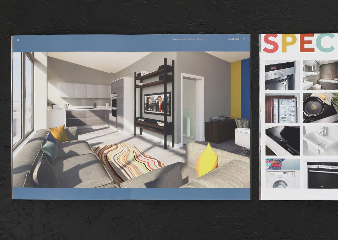 Page layout and graphic design for Grand View, Leigh on Sea showing CGI and specifications
