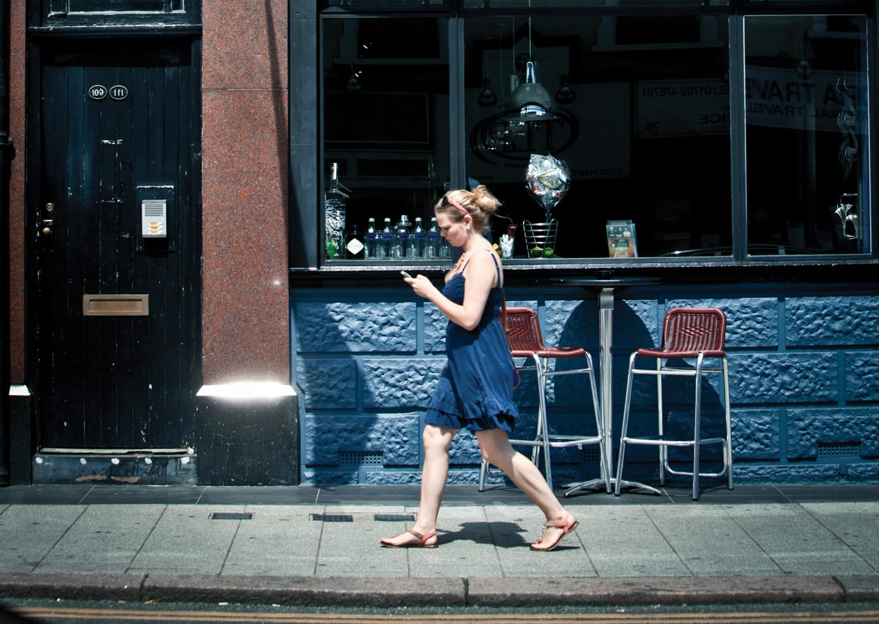 Art direction and photographic style for Grand View development, Leigh on Sea showing girl on the Broadway