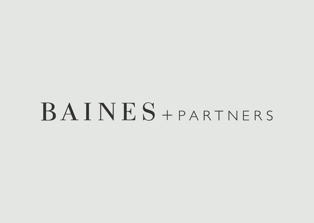 Baines + Partners logo design and branding
