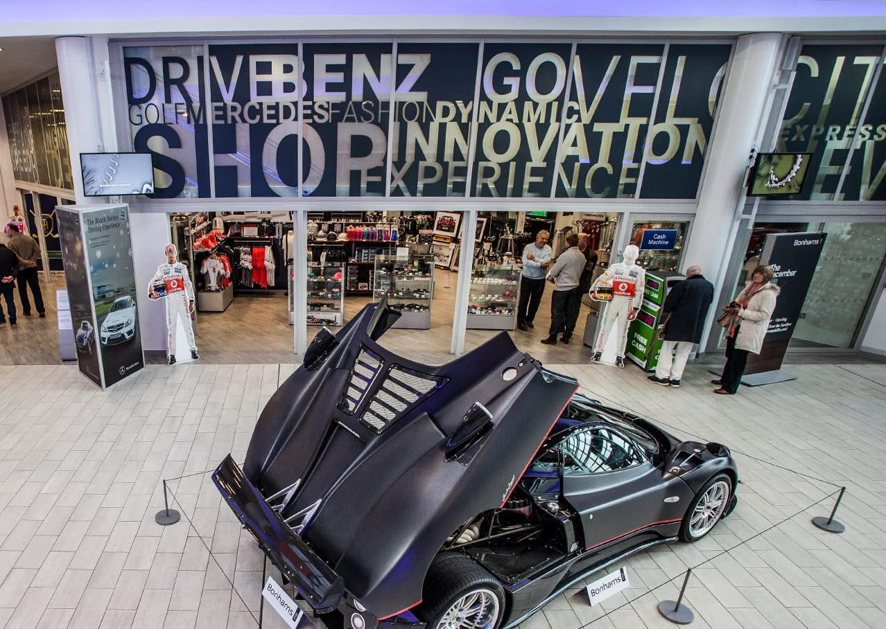 Shop signage design for Mercedes-Benz World