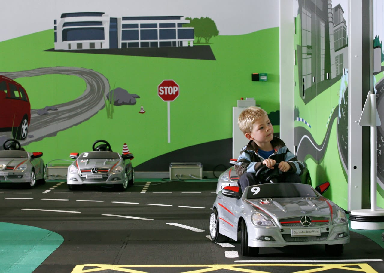Illustration and wall graphics for childrens ride at Mercedes-Benz World