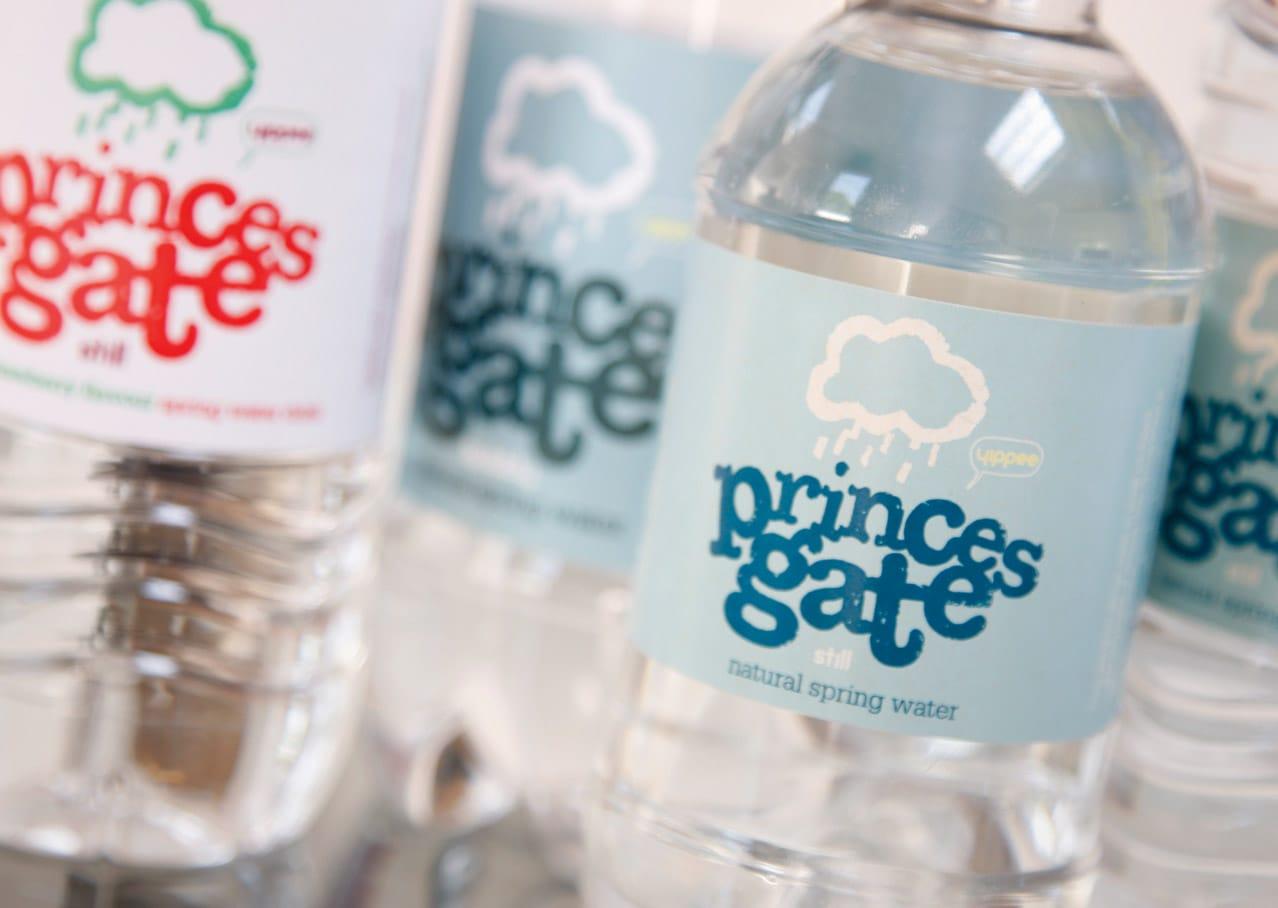 Princes Gate Spring Water packaging design for bottled water
