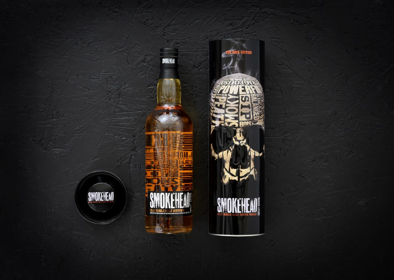 Packaging design for Smokehead whisky featuring digital illustration