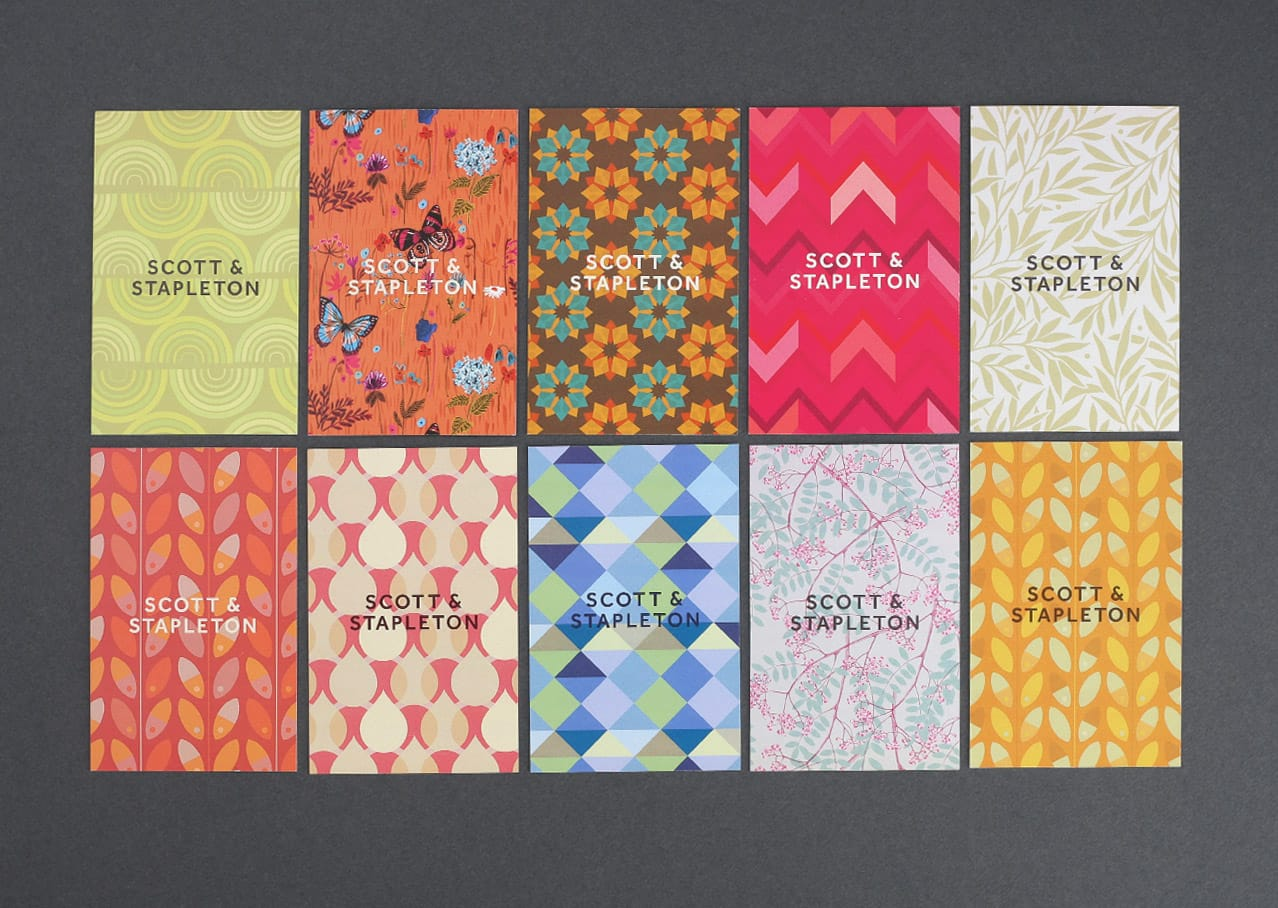 Business card and pattern design for Scott and Stapleton rebranding