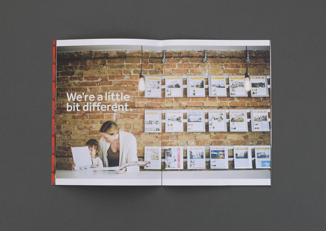 Graphic design and layout for Scott and Stapleton brochure showing art direction style and Paul Tait photography