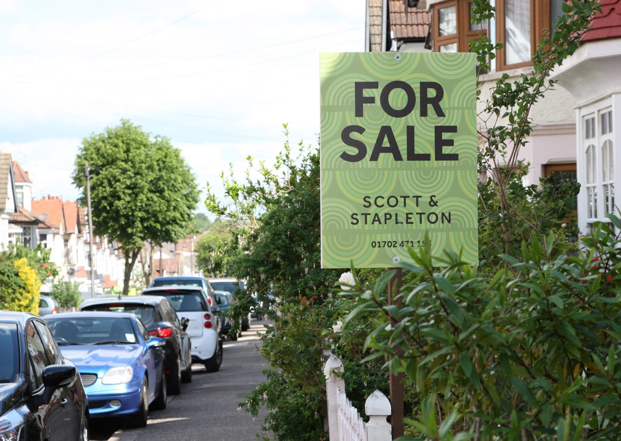 Property board design from Scott and Stapleton estate agent branding, Leigh on Sea