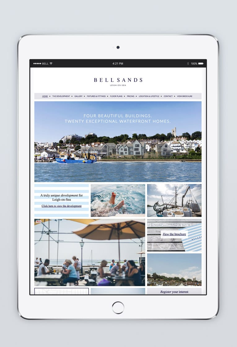 Responsive web design for Bell Sands development, Leigh on Sea, displayed on iPad