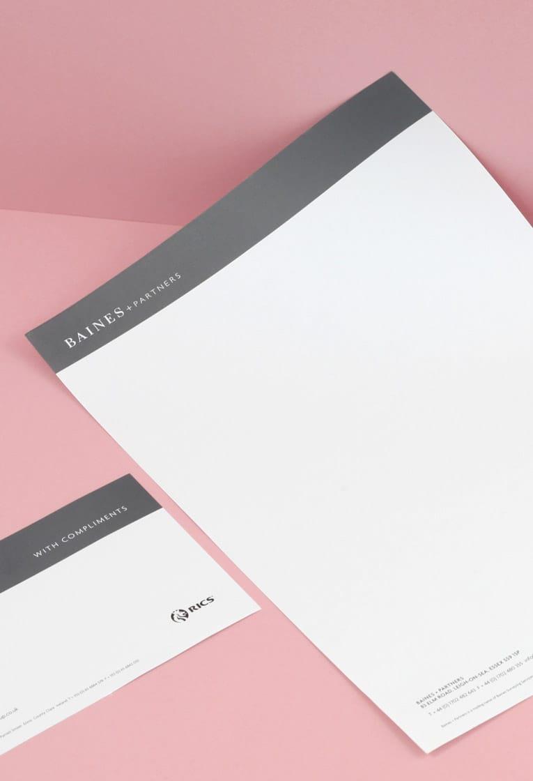 Baines stationery design
