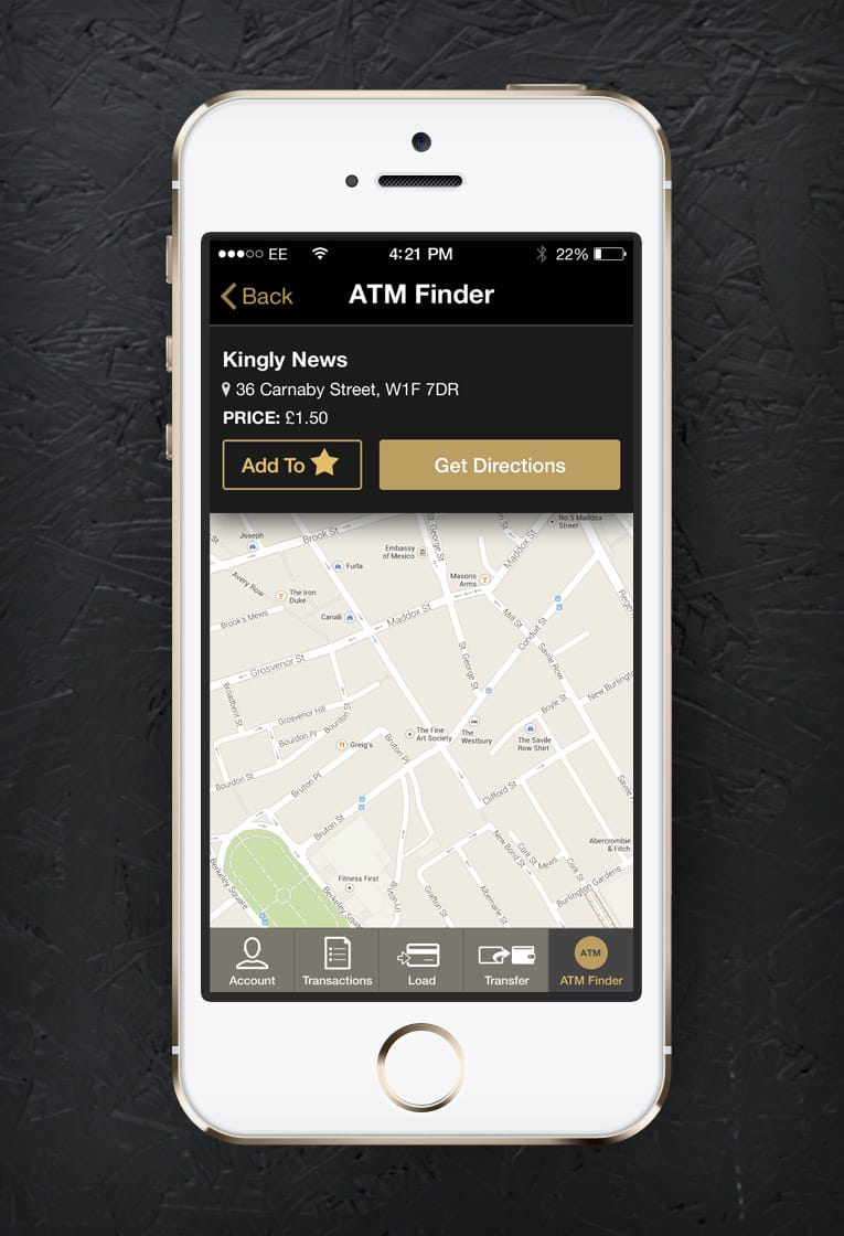 Screenshot of app design for Centtrip