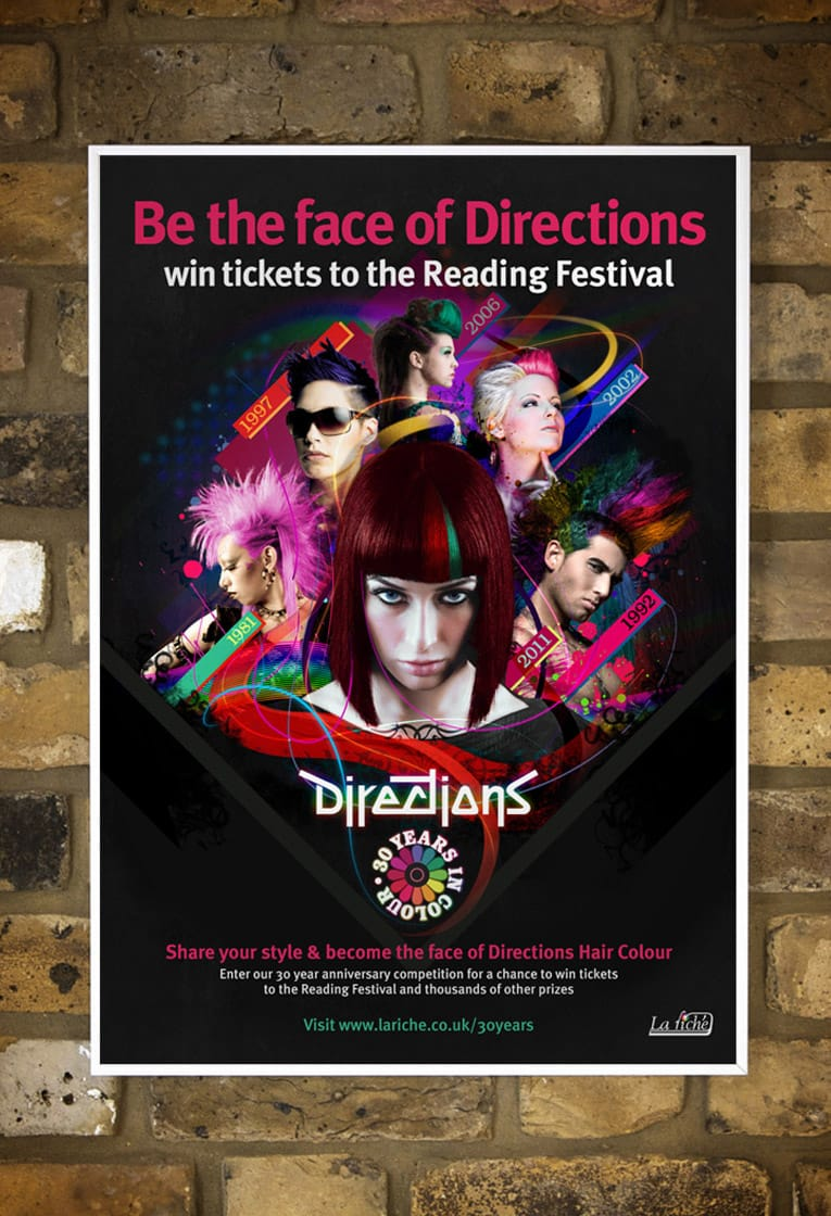 Graphic design and poster design for Directions Hair Colour