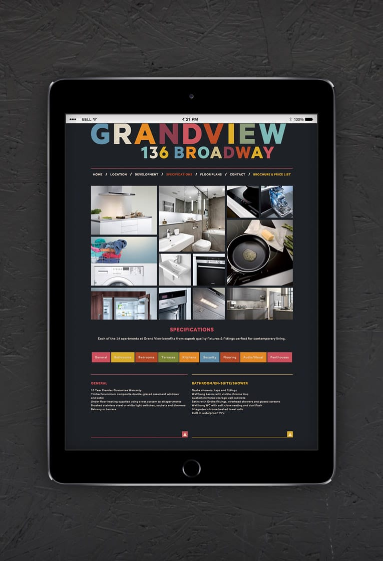 Responsive web design and development for Grand View development, Leigh on Sea