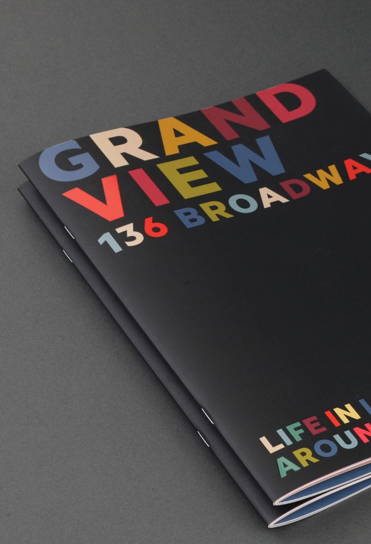 Graphic design brochure cover for Grand View development, Leigh on Sea