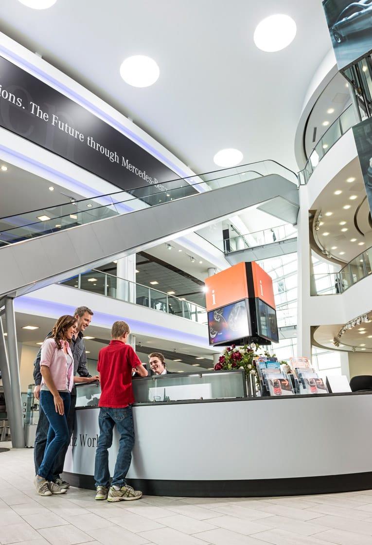 Wayfinding and signage design for Mercedes-Benz World, Surrey