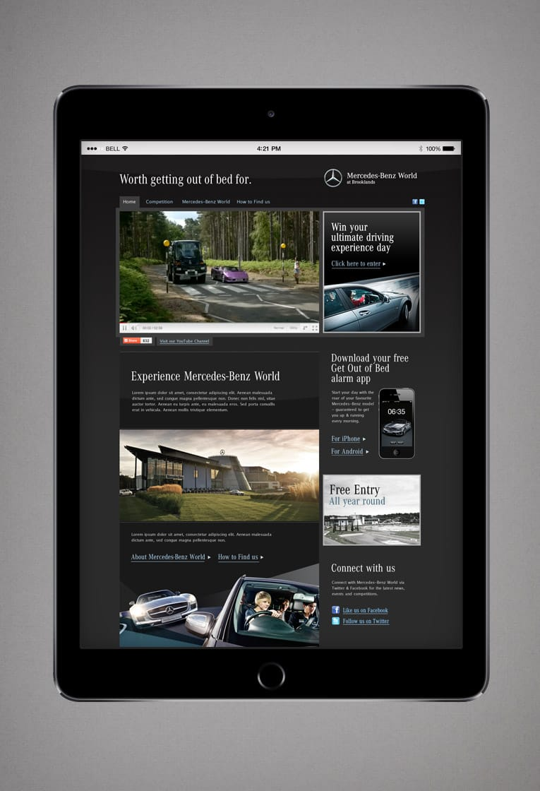 Microsite web design for Mercedes-Benz World promotional campaign