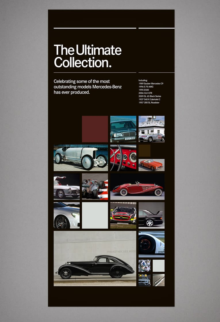 Graphic design and exhibition poster design for Mercedes-Benz World