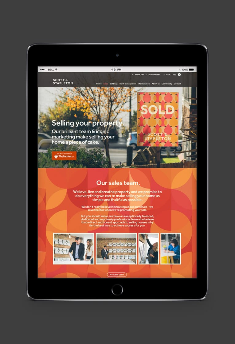 Responsive web design for Scott and Stapleton estate agents, Leigh on Sea
